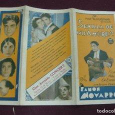 Cine: PROGRAMA DE CINE. SEVILLA DE MIS AMORES. RAMON NOVARRO. CINE AVENIDA 1932. URUGUAY.. Lote 120488983