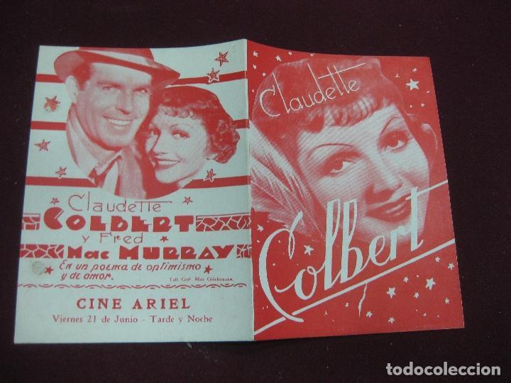 PROGRAMA DE CINE DOBLE EL LIRIO DORADO. CLAUDETTE COLBERT. CINE ARIEL URUGUAY. (Cine - Folletos de Mano - Comedia)