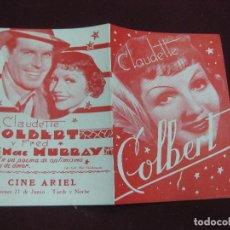 Cine: PROGRAMA DE CINE DOBLE EL LIRIO DORADO. CLAUDETTE COLBERT. CINE ARIEL URUGUAY.. Lote 120492515