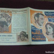 Cine: PROGRAMA DE CINE DOBLE. DIXIANA. BEBE DANIELS Y EVERET MARSHALL. CINE AVENIDA CONCERT 1931. URUGUAY. Lote 120493979