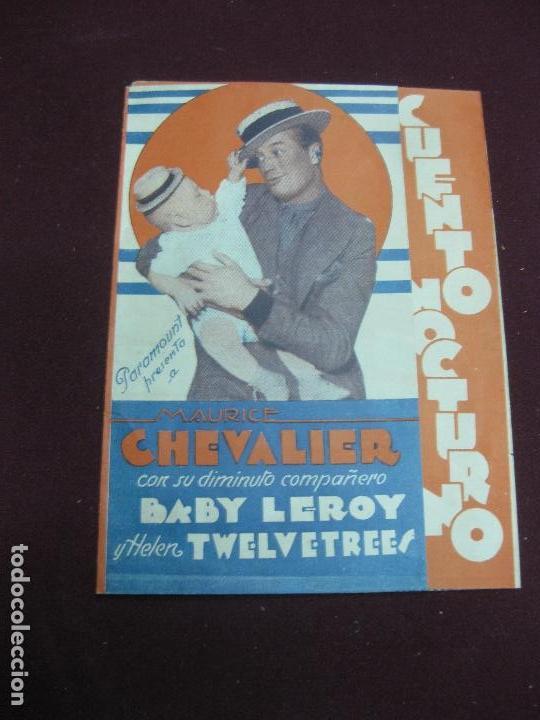 PROGRAMA DE CINE. CUENTO NOCTURNO. MAURICE CHEVALIER. CINE AVENIDA 1934. URUGUAY. (Cine - Folletos de Mano - Musicales)