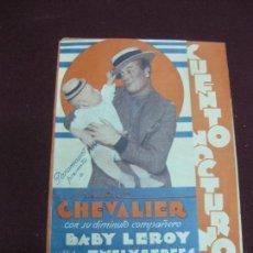 Cine: PROGRAMA DE CINE. CUENTO NOCTURNO. MAURICE CHEVALIER. CINE AVENIDA 1934. URUGUAY.. Lote 120499603