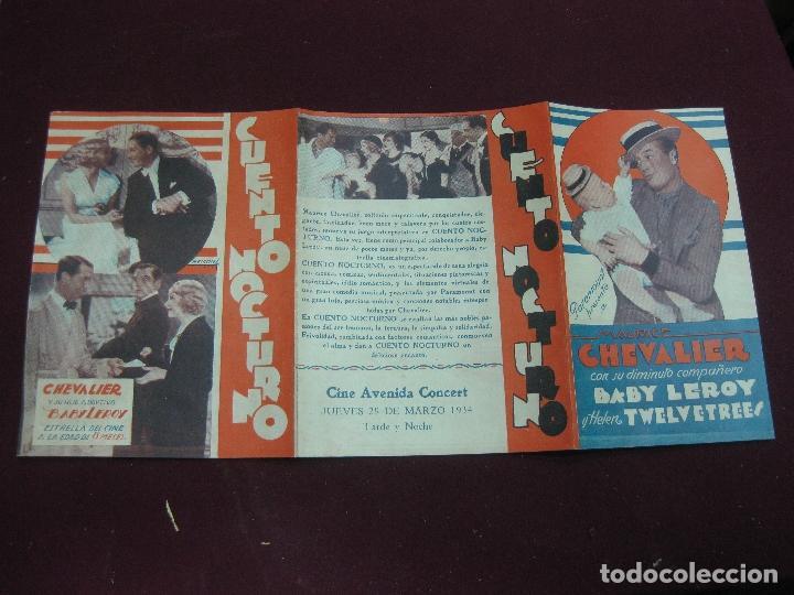 Cine: PROGRAMA DE CINE. CUENTO NOCTURNO. MAURICE CHEVALIER. CINE AVENIDA 1934. URUGUAY. - Foto 2 - 120499603