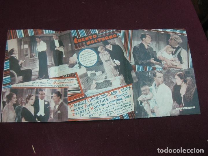 Cine: PROGRAMA DE CINE. CUENTO NOCTURNO. MAURICE CHEVALIER. CINE AVENIDA 1934. URUGUAY. - Foto 3 - 120499603