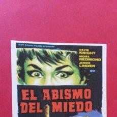 Cine: - EL ABISMO DEL MIEDO - FOLLETO DE CINE, SIN PUBLICIDAD.. Lote 120810959