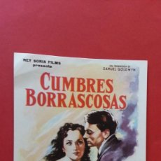 Cine: - CUMBRES BORRASCOSAS - FOLLETO DE CINE, SIN PUBLICIDAD. . Lote 120819095