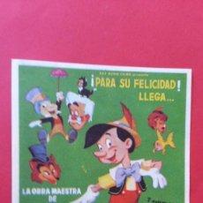 Cine: - PINOCHO - FOLLETO DE CINE, SIN PUBLICIDAD. . Lote 120819259