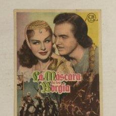 Cine: PROGRAMA DE CINE, LA MÁSCARA DE LOS BORGIA. GRAN CINEMA COCA (VALLADOLID).. Lote 120833371