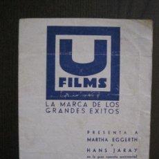 Cine: VUELAN MIS CANCIONES - PROGRAMA DE CINE- CINE CASINO LLAGOSTERENC -VER FOTOS-(C-4157). Lote 120951035