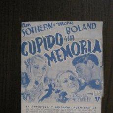 Cine: CUPIDO SIN MEMORIA - PROGRAMA DE CINE- CINE NUEVO -VER FOTOS-(C-4161). Lote 120952435
