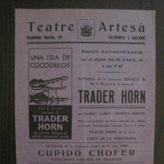 Cine: TRADER HORN - PROGRAMA DE CINE - VILANOVA -VER FOTOS-(C-4167). Lote 121054135