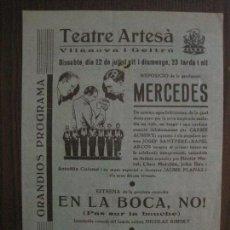 Cine: MERCEDES - PROGRAMA DE CINE - VILANOVA -VER FOTOS-(C-4169). Lote 121054439