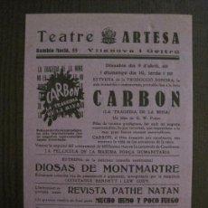 Cine: CARBON- LA TRAGEDIA DE LA MINA - PROGRAMA DE CINE - VILANOVA -VER FOTOS-(C-4175). Lote 121055399