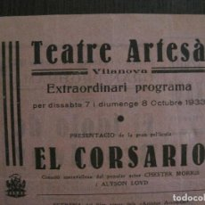 Cine: EL CORSARIO - PROGRAMA DE CINE - VILANOVA -VER FOTOS-(C-4179). Lote 121055867