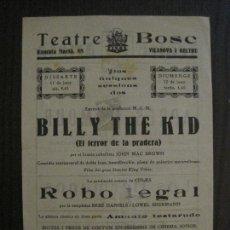 Cine: BILLY THE KID -EL TERROR DE LA PRADERA - PROGRAMA DE CINE - VILANOVA -VER FOTOS-(C-4180). Lote 121056023