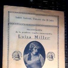Cine: CINE MUDO - KURSAAL - LUISA MILLER - 1922 - TRÍPTICO. Lote 121077323