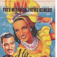Cine: A LA HABANA ME VOY CON CARMEN MIRANDA, JOHN PAYNE, AÑO 1949 CINEMAS LA RAMBLA Y PRINCIPAL. Lote 121311667