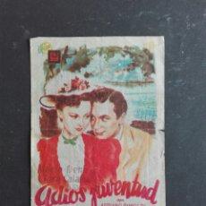 Cine: VENDIDOS PROGRAMA CINE -PELICULA - ADIOS JUVENTUD . PUBLICIDAD AL DORSO. Lote 121313447