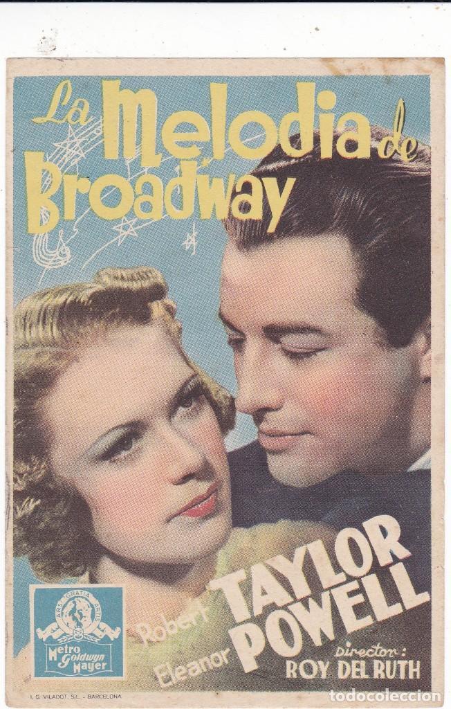 LA MELODÍA DE BROADWAY CON ROBERT TAYLOR, ELEANOR POWELL SIN PUBLICIDAD (Cine - Folletos de Mano - Musicales)