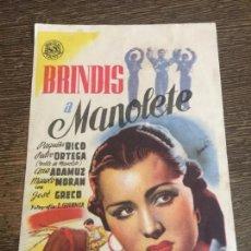 Cine: BRINDIS A MANOLETE. ANTIGUO FOLLETO DE CINE. DORSO EN BLANCO. Lote 121505459