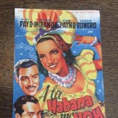 Cine: A LA HABANA ME VOY. ANTIGUO FOLLETO DE CINE. DORSO EN BLANCO. Lote 121506547