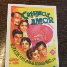 Cine: CREEMOS EN EL AMOR. CINE COLON. OLOT. ANTIGUO FOLLETO DE CINE.. Lote 121514463