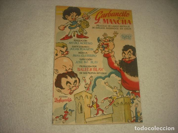GARBANCITO DE LA MANCHA, PROGRAMA SENCILLO SIN PUBLICIDAD (Cine - Folletos de Mano - Infantil)