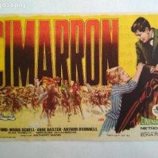 Cine: FOLLETO DE CINE, CIMARRON, AÑO 60, PUBLICIDAD CINE PALAFOX, ZARAGOZA. Lote 121667443