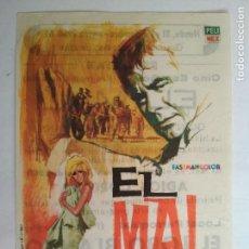 Cine: FOLLETO DE CINE, EL MAL, AÑO 60, PUBLICIDAD CINE ESPAÑOL. Lote 121667723