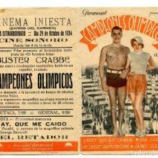 Folhetos de mão de filmes antigos de cinema: CAMPEONES OLÍMPICOS, CON BUSTER CRABBE.. Lote 121769947