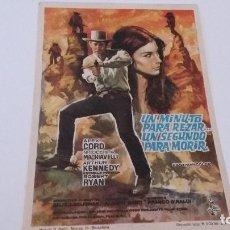 Flyers Publicitaires de films Anciens: UN MINUTO PARA REZAR UN SEGUNDO PARA MORIR - CON PUBLICIDAD - VER DORSO _AN. Lote 121796643