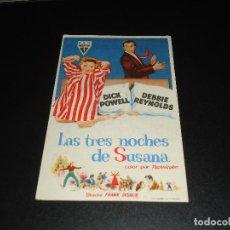 Cine: PROGRAMA DE MANO ORIGIN - LAS TRES NOCHES DE SUSANA - SIN CINE. Lote 121858487
