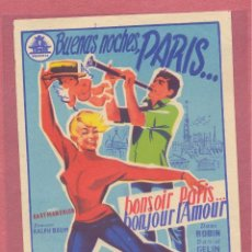 Cine: FOLLETO DE MANO ORIGINAL, BUENAS NOCHES PARIS ....., SIN PUBLICIDAD, VER FOTOS. Lote 121892783