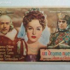 Cine: FOLLETO DE CINE, UN DRAMA NUEVO , AÑOS 50, ORIGINAL, PUBLICIDAD REX. Lote 122097471