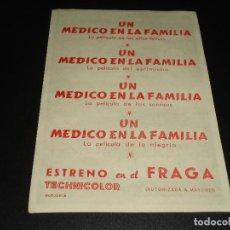 Cine: PROGRAMA DE MANO ORIGIN - UN MEDICO EN LA FAMILIA - CINE DE VIGO. Lote 122097483