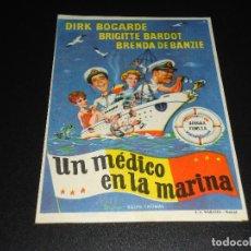 Cine: PROGRAMA DE MANO ORIGIN - UN MEDICO EN LA MARINA - SIN CINE. Lote 122097559