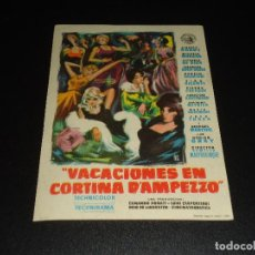 Cine: PROGRAMA DE MANO ORIGIN - VACACIONES EN CORTINA D´AMPEZZO - SIN CINE. Lote 122098255