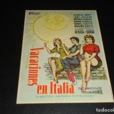 Cine: PROGRAMA DE MANO ORIGIN - VACACIONES EN ITALIA - CINE DE ORIHUELA. Lote 122098307