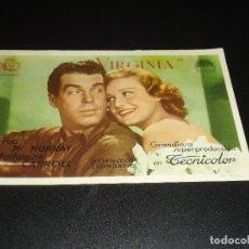 Cine: PROGRAMA DE MANO ORIGIN - VIRGINIA - CINE DE VILLANUEVA DE LA SERENA. Lote 122098615