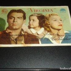 Cine: PROGRAMA DE MANO ORIGIN - VIRGINIA - CINE DE VILLANUEVA DE LA SERENA. Lote 122098647
