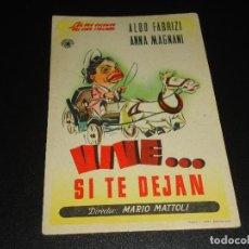 Cine: PROGRAMA DE MANO ORIGIN - VIVE... SI TE DEJAN - SIN CINE. Lote 122098747