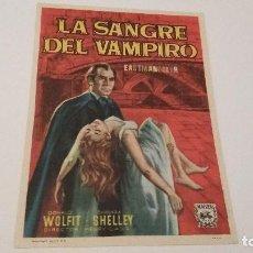 Flyers Publicitaires de films Anciens: LA SANGRE DEL VAMPIRO - DONALD WOLFIT - BARBARA SHELLEY - CINE CASABLANCA _AN. Lote 122139171