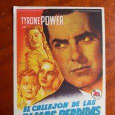 Cine: EL CALLEJÓN DE LAS ALMAS PERDIDAS- CON PUBLICIDAD CINE HÉRCULES _MA. Lote 122267979