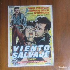 Cine: PROGRAMA DE CINE FOLLETO DE MANO-VIENTO SALVAJE-AÑOS 40-50 SIN PUBLICIDAD . Lote 122457135