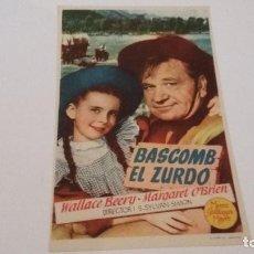 Flyers Publicitaires de films Anciens: BASCOMB EL ZURDO - WALLACE BEERY - MARGARES O'BRIEN - S/P _AN. Lote 122464431
