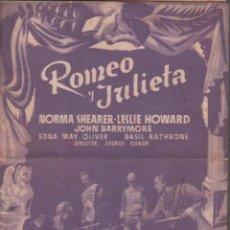 Cine: ROMEO Y JULIETA.- NORMA SHEARER - LESLIE HOWARD. PROGRAMA DOBLE DE MGM CON PUBLICIDAD, RF-1338. Lote 122535531