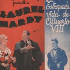 Cine: A ESTROPEADA VIDA DE OLIVEIRO VIII, LAUREL HARDY / PROGRAMA DOBLE MGM SIN PUBLICIDAD RF-1384. Lote 122663743