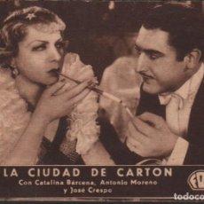 Cine: LA CIUDAD DE CARTON - PROGRAMA TARJETA FOX CON PUBLICIDAD RF-1421. Lote 122763355