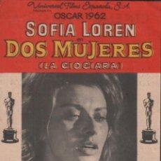 Cine: DOS MUJERES - PROGRAMA SENCILLO CON PUBLICIDAD RF-1428 , PERFECTO ESTADO. Lote 122766339
