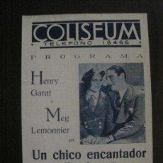 Cine: UN CHICO ENCANTADOR -PROGRAMA CINE- CINE COLISEUM -VER FOTOS-(C-4205). Lote 122811087